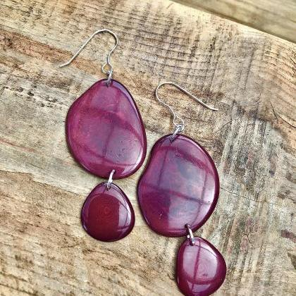 Wine deep red Tagua nut (vegetable ..