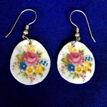 China Rose round earrings
