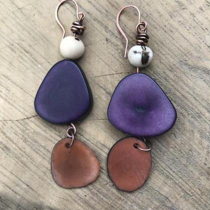 Gorgeous BoHo dark purple tagua nut..
