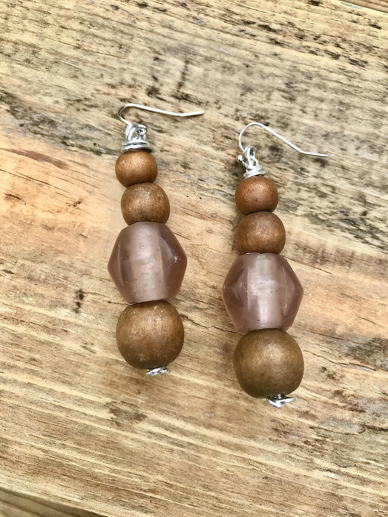 Gorgeous recycled African bottle Glass and wooden beads earrings with sterling silver wires.