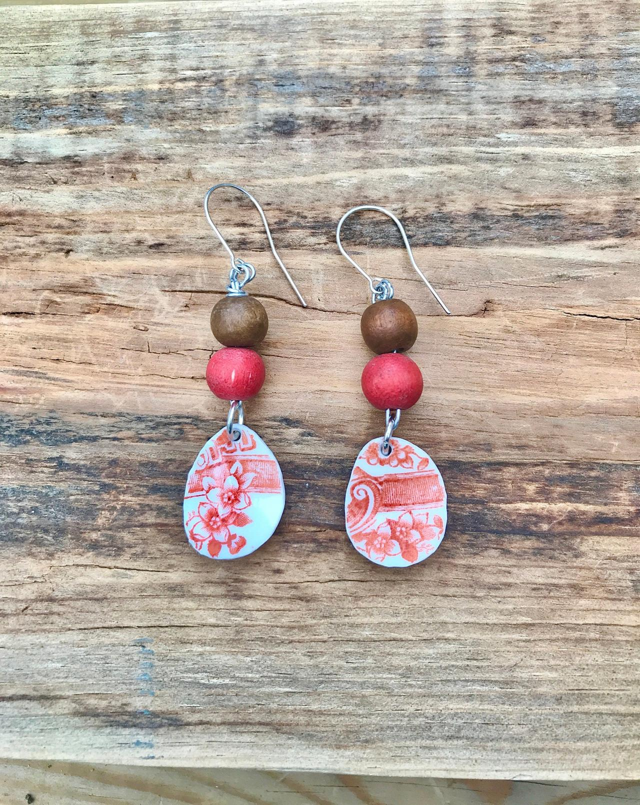 Gorgeous wood bead & orange vintage recycled broken China earrings with sterling silver wires.