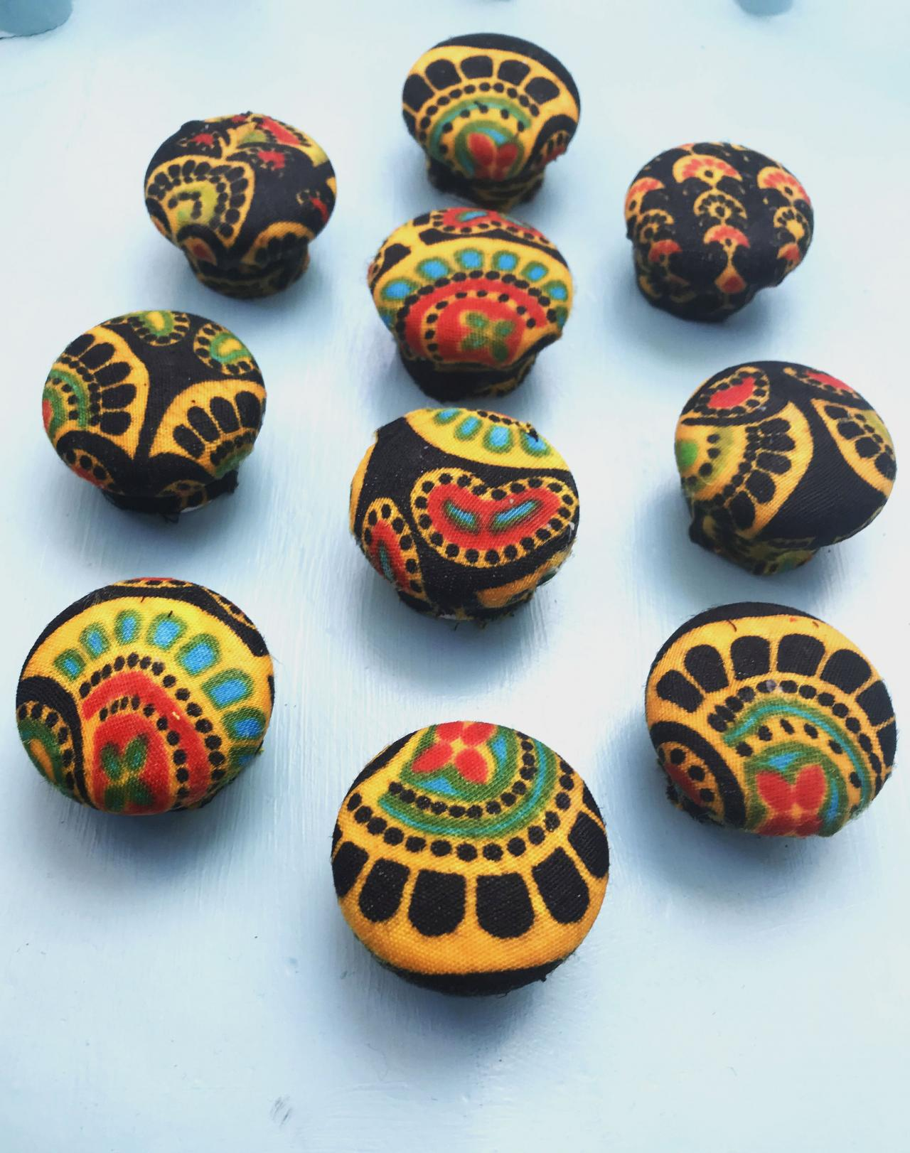 Bohemian style Decoupage Decorated Drawer Knobs set of 10