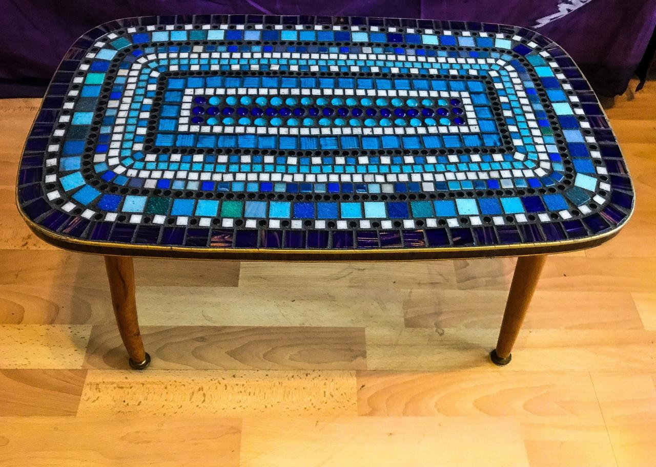 Wonky blue Mid century VINTAGE coffee table