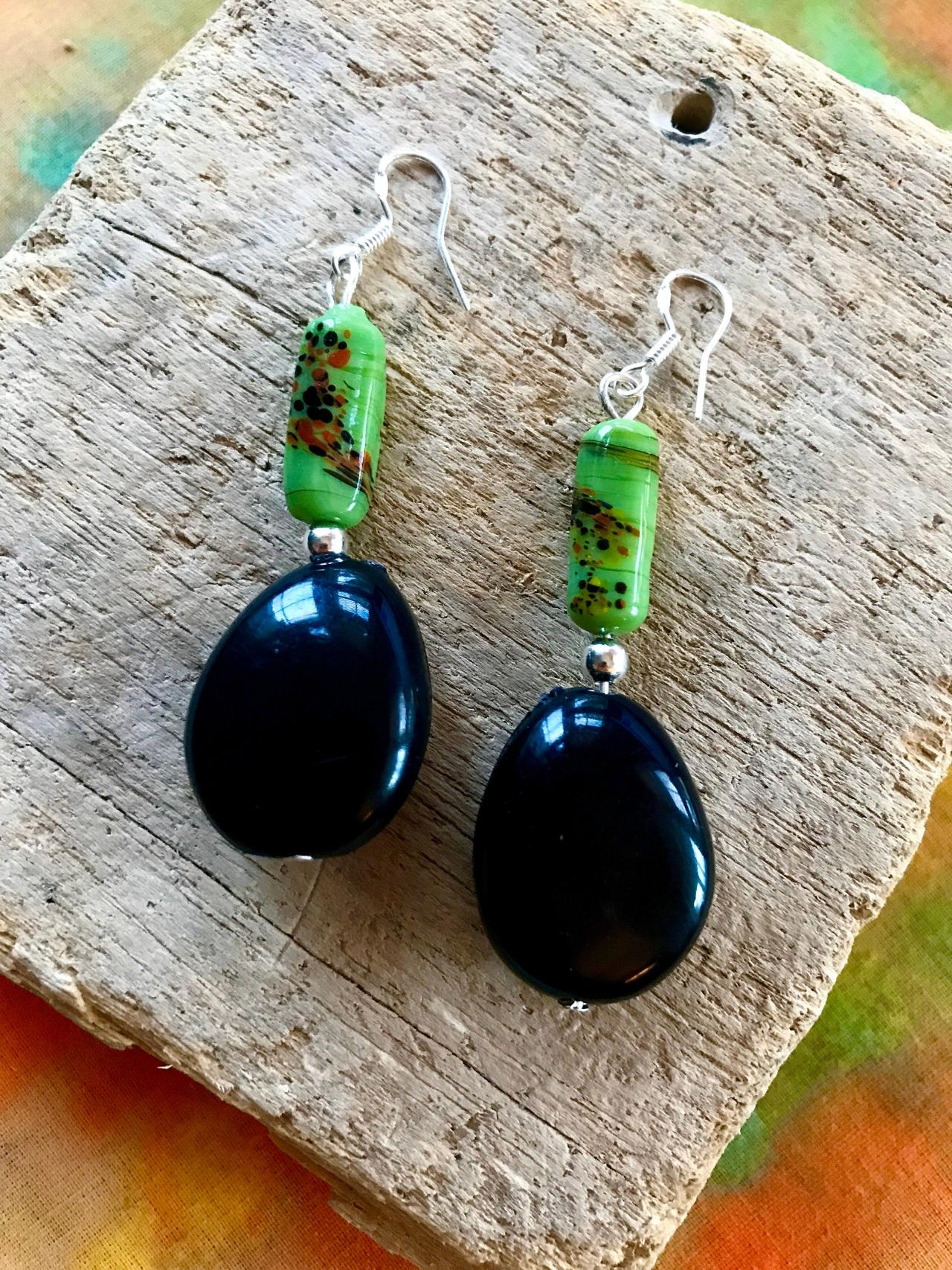 Gorgeous black BoHo Tagua nut dangle earrings with sterling silver wires