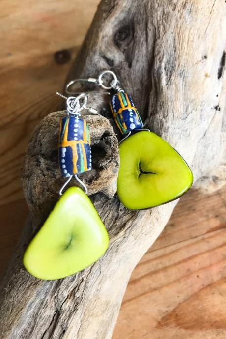 Gorgeous BoHo bright green tagua nut dangle earrings