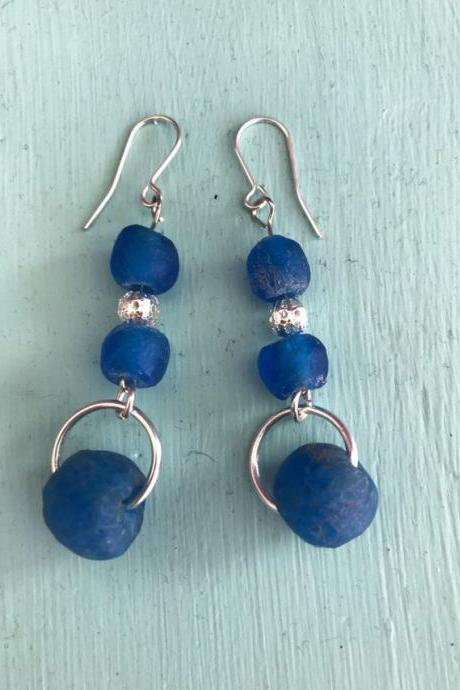 Recycled bottle glass earrings blue
