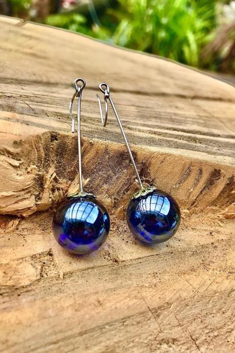 Stunning metallic blue boho recycled glass marble dangle earrings with sterling silver ear wires
