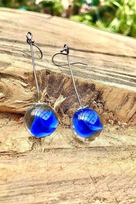 Stunning blue boho recycled glass marble dangle earrings with sterling silver ear wires