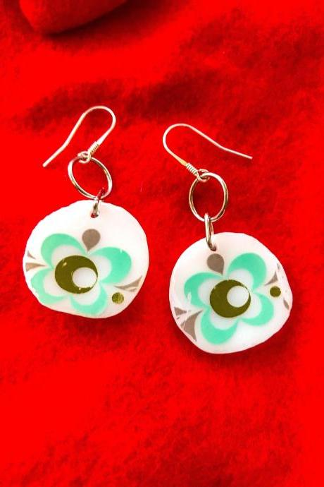 RETRO vintage pYREX GREEN china earrings