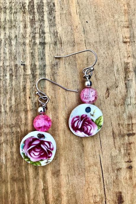 Sweet pink rose & pink glass bead vintage recycled China dangle earrings