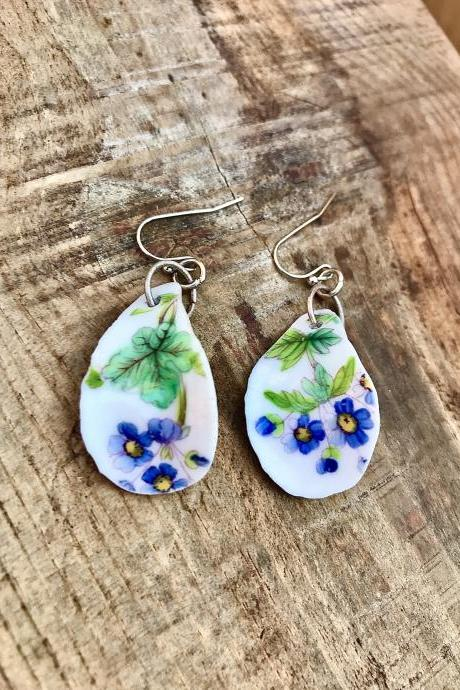 Sweet blue flower vintage recycled China earrings