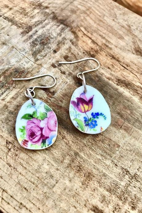 Sweet little pink rose vintage recycled China dangle earrings
