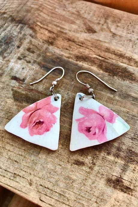 Darling pink rose vintage recycled China triangle earrings
