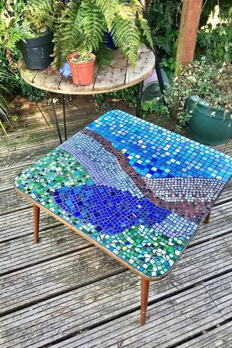 Meet 'Escape to the country' handcrafted unique mosaic vintage coffee table