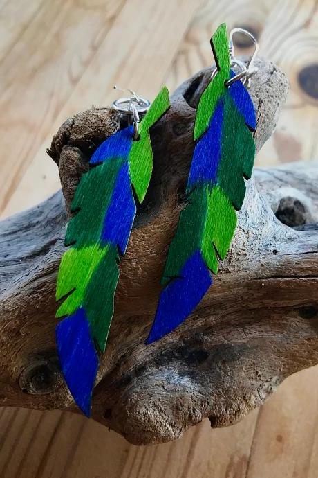 Pretty BoHo colourful wooden feather earrings