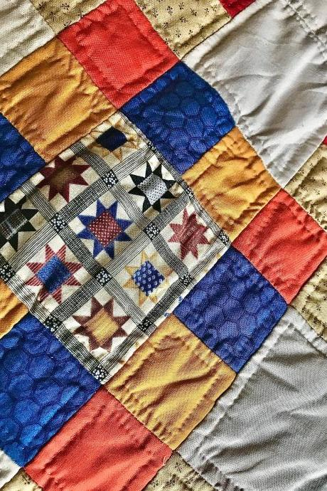 Beautiful hand stitched quilted bed cover/throw