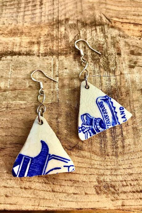 Unique vintage ironstone pattern blue & white china earrings with sterling silver earwires.