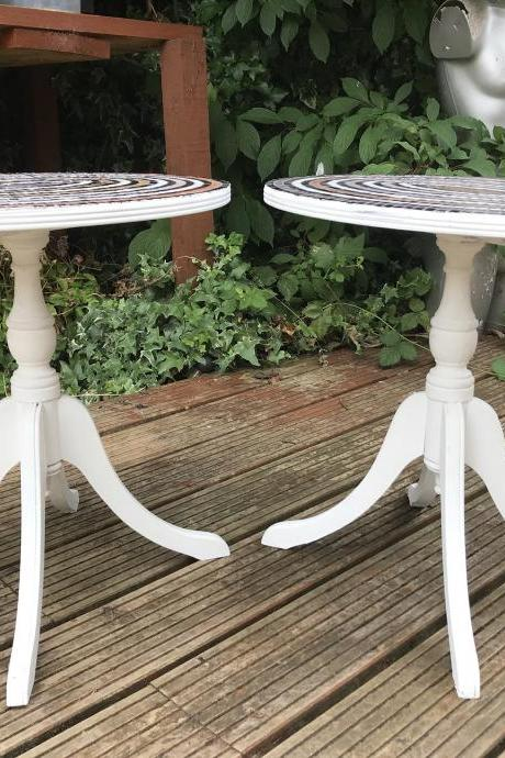 Pair of up cycled mosaic vintage regency occasional side tables
