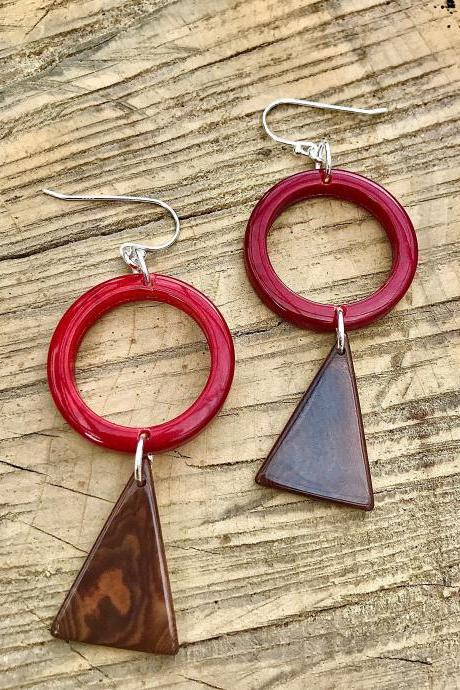 Beautiful red hoop & brown triangle Tagua nut (vegetable Ivory) dangle earrings with sterling silver wires .