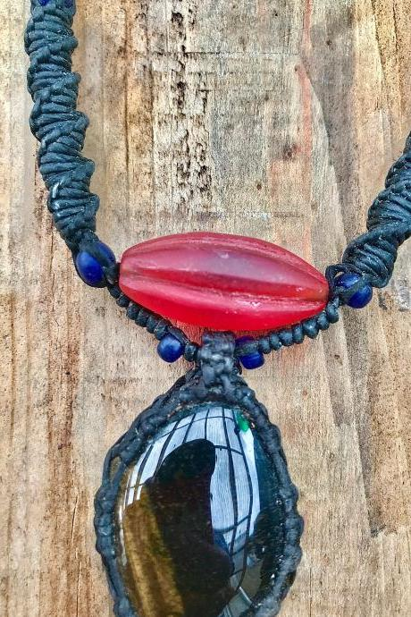 BOHO Red glass & black semi precious stone necklace with cotton woven cabochon