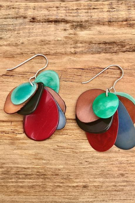 Green brown & russets Tagua nut (vegetable Ivory) dangle earrings with sterling silver wires.