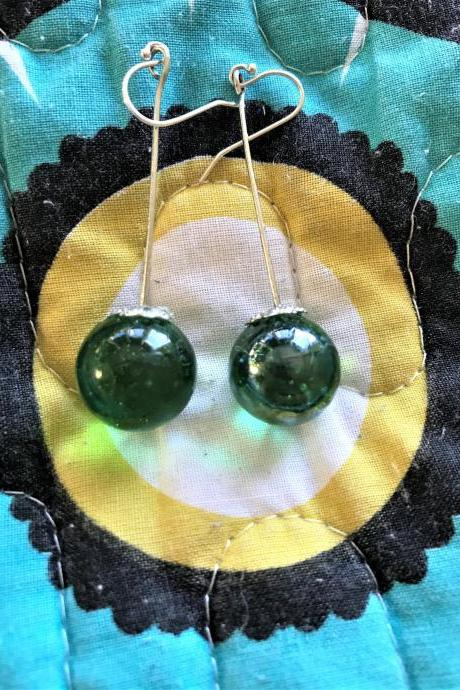 Beautiful Green marble recycled earrings