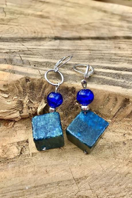 Pretty boho green blue turquoise color cubed stone dangle earrings