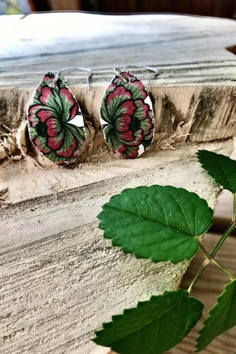 Gorgeous green &red floral vintage recycled broken China earrings with sterling silver wires.
