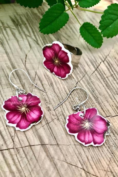 One of a kind vintage recycled-deep pink flower China dangle earrings & ring set.
