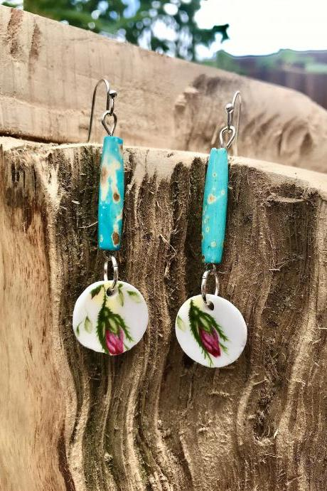 Cute rosebud recycled vintage floral China & blue ceramic bead dangle earrings
