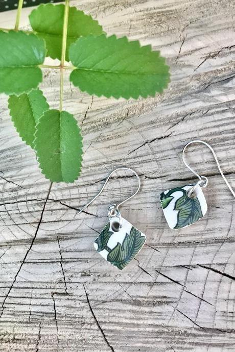 Sweet little vintage recycled China leaf dangle earrings