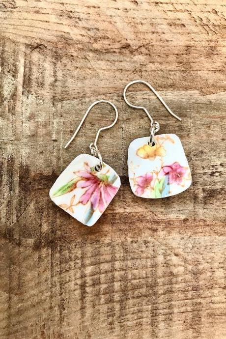 Sweet pale pink & yellow vintage recycled China floral dangle earrings