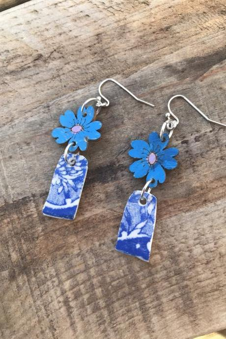 Pretty blue wooden flower and blue china earrings with sterling silver wires
