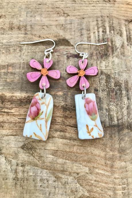 Pretty wooden flower and bone china earrings with sterling silver wires