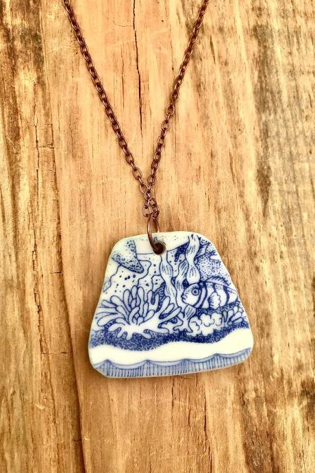 Sweet blue ViNTAGE BONE CHINA Pendant