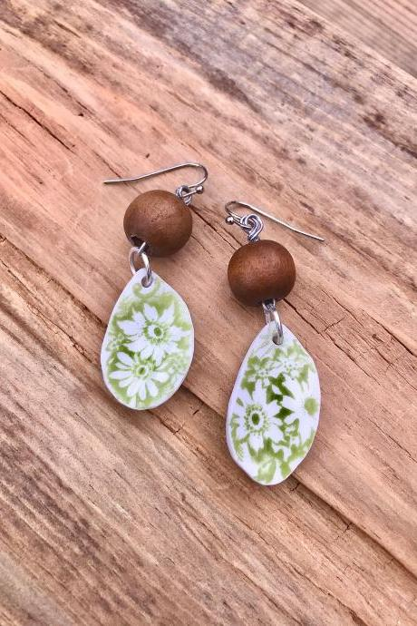 Gorgeous green floral & wood bead vintage recycled China earrings with sterling silver wires.