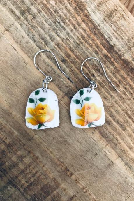 Gorgeous yellow rose vintage recycled broken China earrings with sterling silver wires.