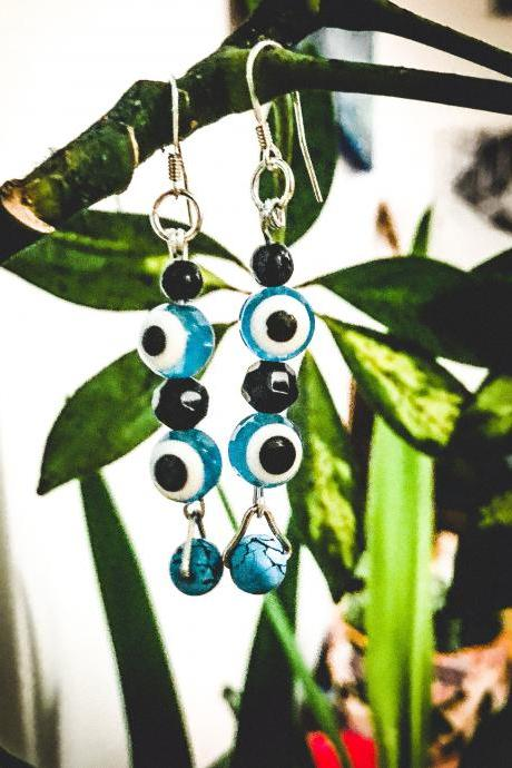 Gorgeous boho recycled turquoIse EYE & black beads dangle earrings