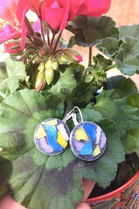 Mosaic glass mixed colour earrings
