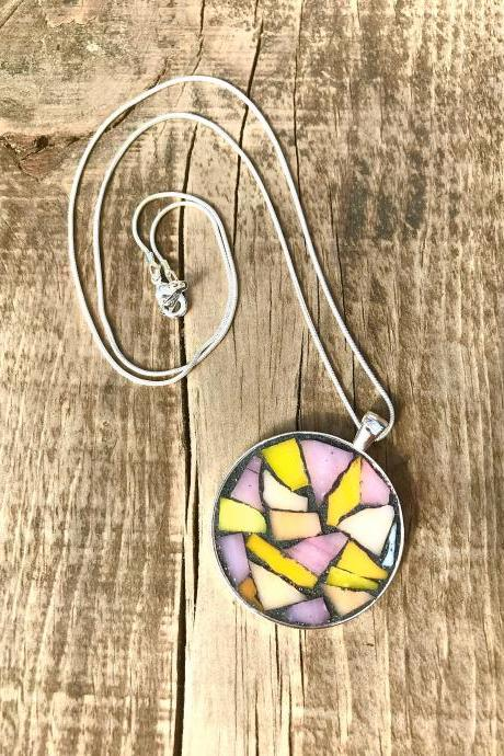 Mosaic warm pinks & yellow colour pendant