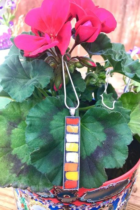 Mosaic warm mixed colour pendant