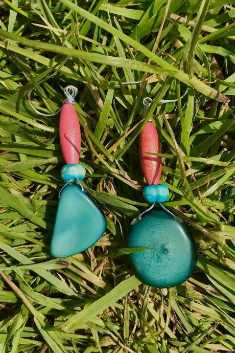 Gorgeous pink & turquoise Boho Tagua nut dangle earrings with sterling silver wires