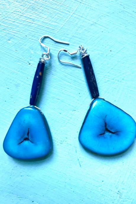 Gorgeous blue BoHo Tagua nut dangle earrings with sterling silver wires