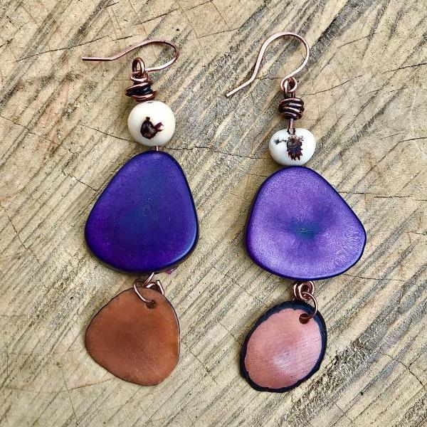 Gorgeous BoHo dark purple tagua nut dangle earrings